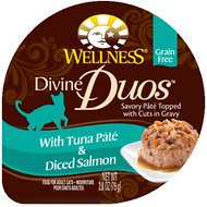 Wellness Divine Duos with Tuna Pate & Diced Salmon Grain-Free Wet Cat Food, 2.8-oz, case of 24