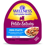 Wellness Petite Entrees Mini-Filets with Roasted Chicken, Carrots & Red Peppers in Gravy Grain-Free Wet Dog Food, 3-oz, case of 24
