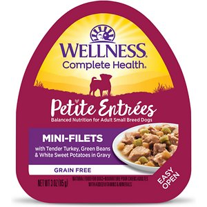 Wellness Petite Entrees Mini-Filets with Tender Turkey, Green Beans & White Sweet Potatoes in Gravy Grain-Free Wet Dog Food, 3-oz, case of 24; Show your amigo a little extra love with Wellness Petite Entrees Mini Fillets Tender Turkey, Green Beans & White Sweet Potato. This natural, grain-free wet food for small breed dogs features mouthwatering cuts of meat and wholesome vegetables in a savory sauce. It is crafted to be a complete and balanced diet that's specially formulated to meet the needs of small breed dogs. This wet dog food is made using only premium, all-natural ingredients without any wheat, meat by-products, soy or artificial colors and flavors. It is packaged in easy-open containers that are ready-to-serve for your convenience.