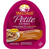 Wellness Petite Entrees Mini-Filets with Roasted Beef, Carrots & Red Peppers in Gravy Wet Dog Food, 3-oz, case of 24