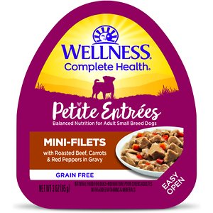 Wellness Petite Entrees Mini-Filets with Roasted Beef, Carrots & Red Peppers in Gravy Grain-Free Wet Dog Food, 3-oz, case of 24; Treat your good boy to a special supper with Wellness Petite Entrees Mini Fillets Beef, Carrots & Red Peppers. This natural, grain-free wet food for small breed dogs features mouthwatering cuts of meat and wholesome vegetables in a savory sauce. It is crafted to be a complete and balanced diet that's specially formulated to meet the needs of small breed dogs. This wet dog food is made using only premium, all-natural ingredients without any wheat, meat by-products, soy or artificial colors and flavors. It is packaged in easy-open containers that are ready-to-serve for your convenience.