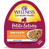 Wellness Petite Entrees Mini-Filets with Roasted Chicken, Beef, Carrots & Green Beans in Gravy Wet Dog Food, 3-oz, case of 24