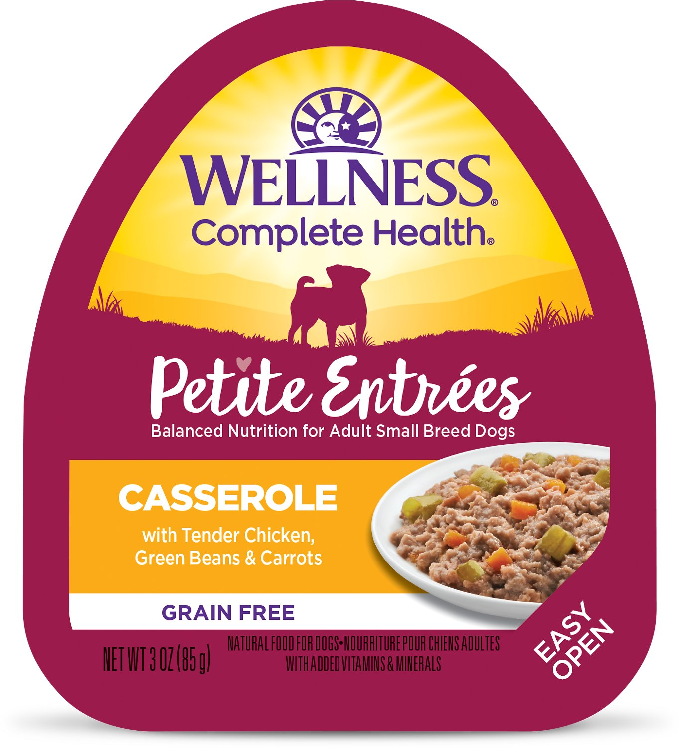 Wellness Pee Entrees Casserole With Tender Chicken Green Beans Carrots Grain Free Wet Dog Food 3 Oz Case Of 24 Chewy Com