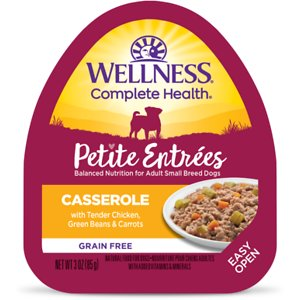 Wellness Petite Entrees Casserole with Tender Chicken, Green Beans & Carrots Grain-Free Wet Dog Food, 3-oz, case of 24; Petite Entrees gourmet food was created just for small breed dogs – delicious taste, exciting textures and daily variety. Each unique preparation features mouthwatering cuts of meat and wholesome vegetables in delicious sauces. A tasty and healthy way to serve a little extra love to your little friend.