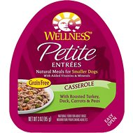 Wellness Petite Entrees Casserole with Roasted Turkey, Duck, Carrots & Peas Grain-Free Wet Dog Food, 3-oz, case of 24