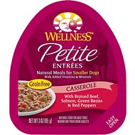 Wellness Petite Entrees Casserole with Braised Beef, Salmon, Green Beans & Red Peppers Grain-Free Wet Dog Food, 3-oz, case of 24