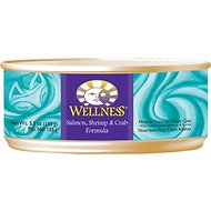 Wellness Complete Health Salmon, Shrimp & Crab Formula Canned Cat Food, 5.5-oz, case of 24