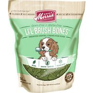 Merrick Lil' Brush Bones Grain-Free Dental Chews Dog Treats, 10.7-oz bag, 14 bones