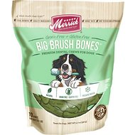 Merrick Big Brush Bones Grain-Free Dental Chews Dog Treats, 11.7-oz bag, 10 bones