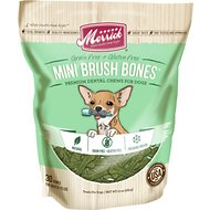 Merrick Mini Brush Bones Grain-Free Dental Chews Dog Treats, 10-oz bag, 30 bones