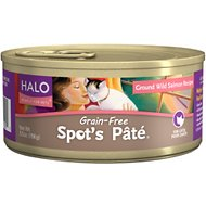 Halo Spot's Pate Ground Wild Salmon Recipe Grain-Free Canned Cat Food, 5.5-oz, case of 12