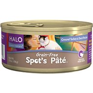 Halo Spot's Pate Ground Turkey & Duck Recipe Grain-Free Canned Cat Food, 5.5-oz, case of 12