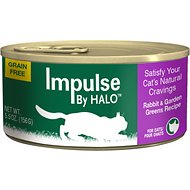 Halo Impulse Rabbit & Garden Greens Recipe Grain-Free Canned Cat Food, 5.5-oz, case of 12
