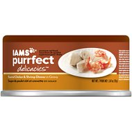 Iams Purrfect Delicacies Roasted Chicken & Shrimp Dinner in Gravy Canned Cat Food, 2.47-oz, case of 24