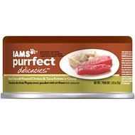Iams Purrfect Delicacies Select Cuts with Roasted Chicken & Tuna Entree in Gravy Canned Cat Food, 2.47-oz, case of 24