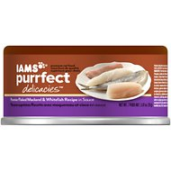 Iams Purrfect Delicacies Premier Flaked Mackerel & Whitefish Recipe in Sauce Canned Cat Food, 2.47-oz, case of 24