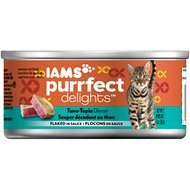 Iams Purrfect Delights Tuna-Topia Dinner Flaked in Sauce Canned Cat Food, 3-oz, case of 24