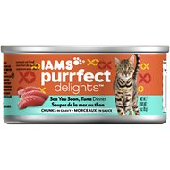 Iams Purrfect Delights Sea You Soon, Tuna Dinner Chunks in Gravy Canned Cat Food, 3-oz, case of 24