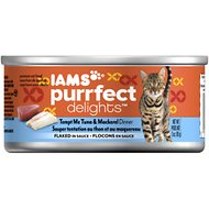 Iams Purrfect Delights Tempt Me Tuna & Mackerel Dinner Flaked in Sauce Canned Cat Food, 3-oz, case of 24