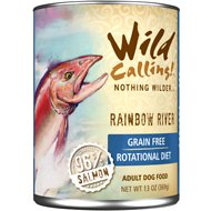 Wild Calling Rainbow River 96% Salmon Grain-Free Adult Canned Dog Food, 13-oz, case of 12