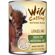 Wild Calling Grassland 96% Buffalo Grain-Free Adult Canned Dog Food, 13-oz, case of 12