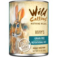 Wild Calling Hoppy's 96% Rabbit Grain-Free Adult Canned Dog Food, 13-oz, case of 12