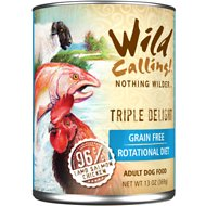 Wild Calling Triple Delight Lamb, Salmon & Chicken Grain-Free Adult Canned Dog Food, 13-oz, case of 12