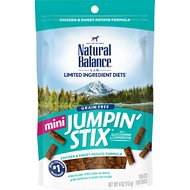 Natural Balance L.I.T. Limited Ingredient Treats Mini Jumpin' Stix Chicken & Sweet Potato Formula Dog Treats, 4-oz bag