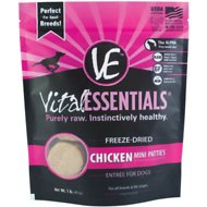 Vital Essentials Chicken Entree Mini Pet Patties Freeze-Dog Food, 1-lb bag