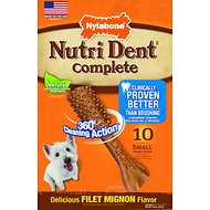 Nylabone Nutri Dent Adult Filet Mignon Small Dental Chews, 10 count