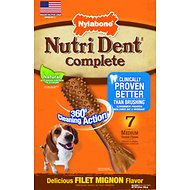 Nylabone Nutri Dent Adult Filet Mignon Medium Dental Chews, 7 count