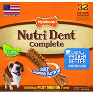 Nylabone Nutri Dent Adult Filet Mignon Medium Dental Chews, 32 count