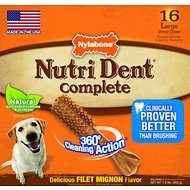 Nylabone Nutri Dent Adult Filet Mignon Large Dental Chews, 16 count