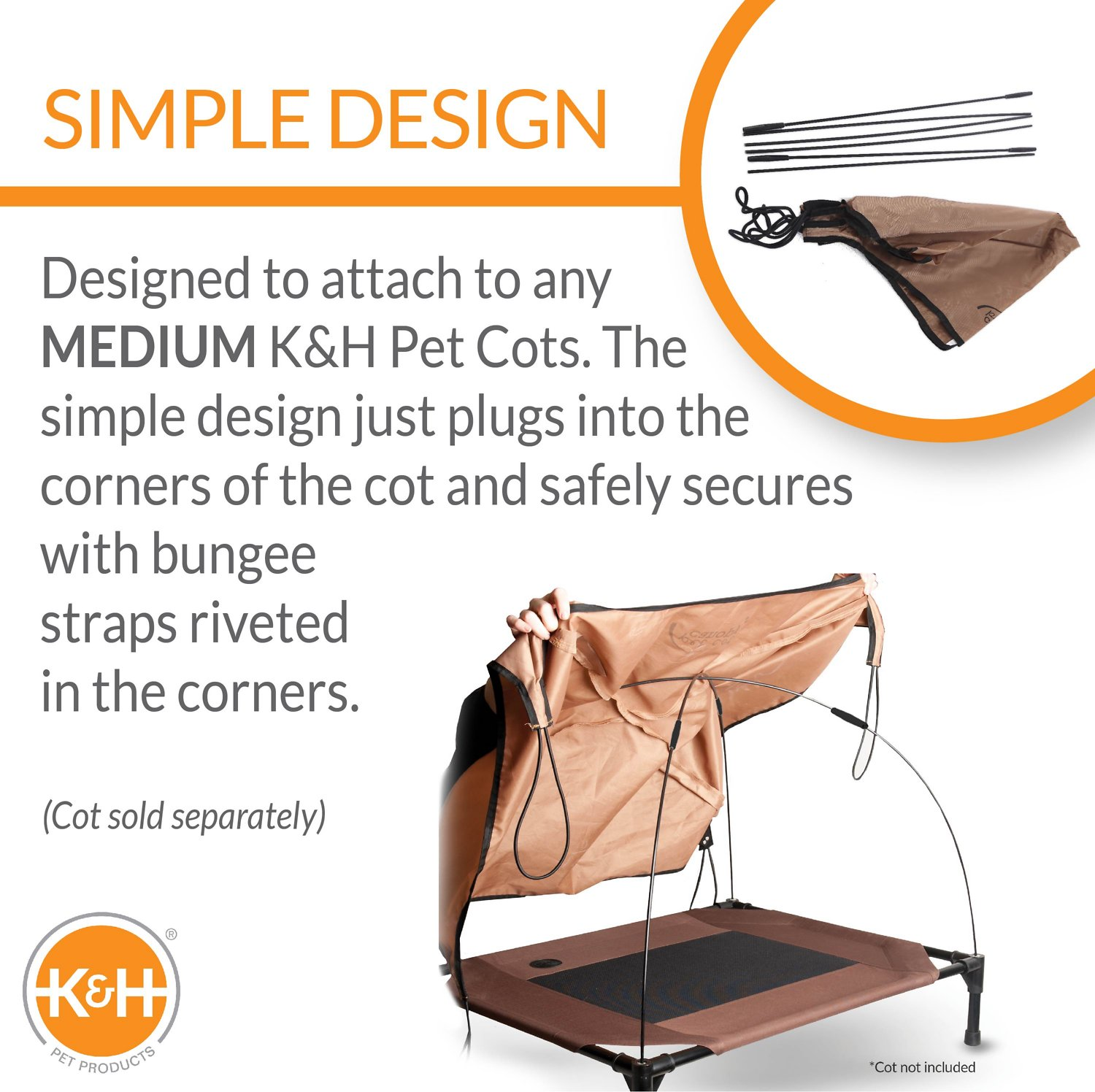 sc 1 st  Chewy.com & Ku0026H Pet Products Pet Cot Canopy Tan Medium - Chewy.com