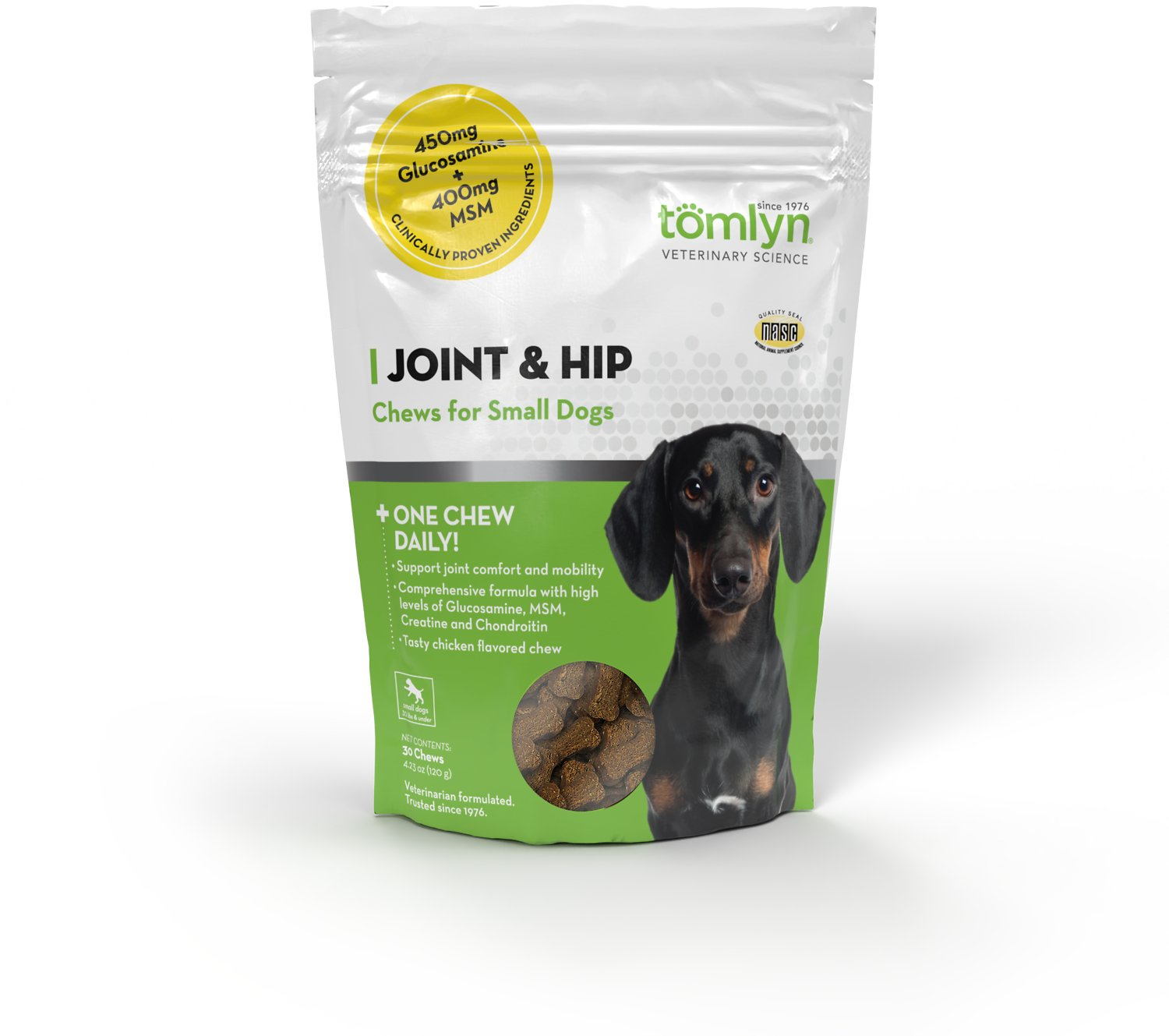 Tomlyn Joint & Hip Chews with MSM and Glucosamine for Small Dogs, 30 count