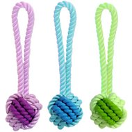 Multipet Nuts for Knots Rope & Rubber Ball with Tug Dog Toy