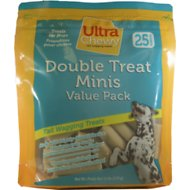 Ultra Chewy Double Treat Bones Mini Dog Treats, 25 pack