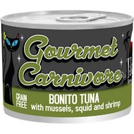 Tiki Cat Gourmet Carnivore Bonito Tuna with Mussels, Squid & Shrimp Grain-Free Canned Cat Food, 6-oz, case of 8