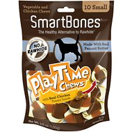 SmartBones Small PlayTime Peanut Butter Chews Dog Treats, 10 pack