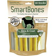 SmartBones Skin & Coat Care Chicken Chews Dog Treats, 16 pack