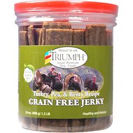 Triumph Turkey, Pea & Berry Recipe Grain-Free Jerky Dog Treats, 24-oz jar