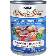 Evolve Nature's Menu Mountain Range Medley with Salmon & Venison in Sauce Canned Dog Food, 13.2-oz, case of 12