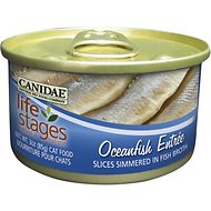 CANIDAE Life Stages Oceanfish Entree with Slices Simmered in Fish Broth Canned Cat Food, 3-oz, case of 12