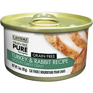 CANIDAE Grain-Free PURE Turkey & Rabbit Recipe with Slices in Turkey Gravy Canned Cat Food, 3-oz, case of 12