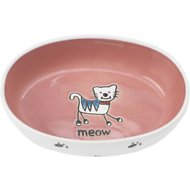 PetRageous Designs Silly Kitty Oval Cat Dish, Pink