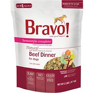 Bravo! Homestyle Complete Beef Dinner Grain-Free Freeze-Dried Dog Food, 2-lb bag
