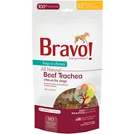 "Bravo! Bag-O-Chews 3.5"" Beef Trachea Chews Dry-Roasted Dog Treats, 4 pack"