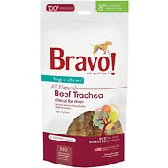 "Bravo! Bag-O-Chews 8"" Beef Trachea Chews Dry-Roasted Dog Treats, 2 pack"