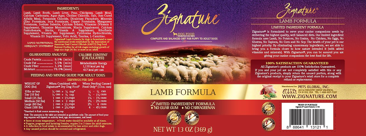 Zignature Lamb Limited Ingredient Formula Grain Free