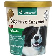 NaturVet Digestive Enzymes Plus Probiotic  Soft Chews for Dogs, 70 count